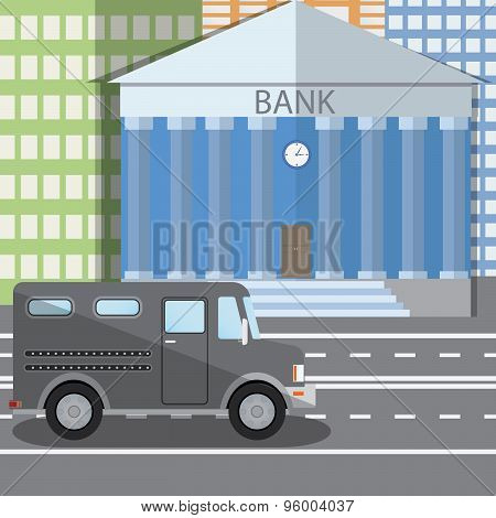 Flat Design Vector Illustration Of Bank Building And Parked Bulletproof Armored Truck In Flat Design