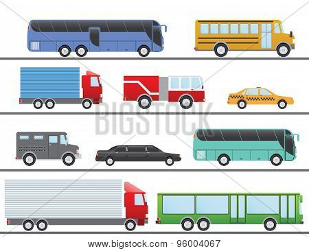 Flat Design Vector Illustration City Transportation Flat Icons. Trucks, Bus, Taxi, Limo, Fire Truck,