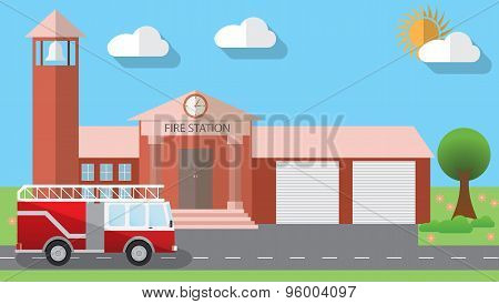 Flat Design Vector Illustration Of Fire Station Building And Parked Fire Truck In Flat Design Style,