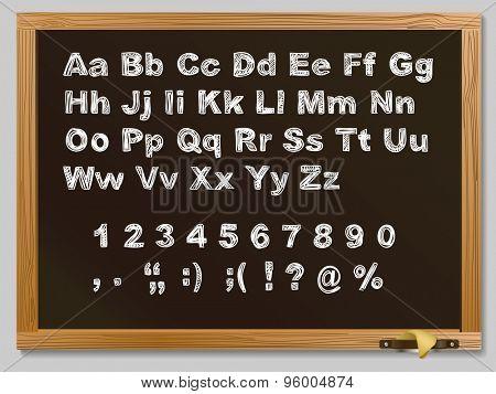 Brown Wood school desks set and hand-drawn chalk alphabet. Raster version