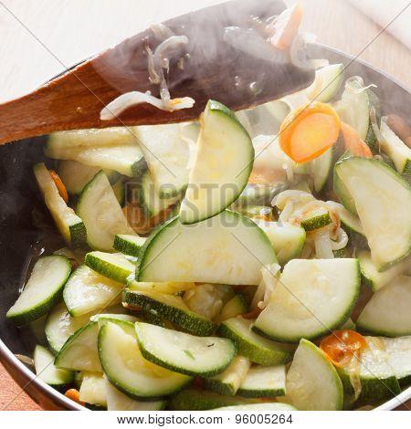 Braised Zucchini Cooking