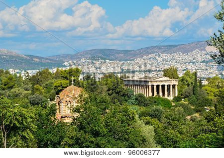 Panorama Of Athens City In Greece With Antique Monument And Chur
