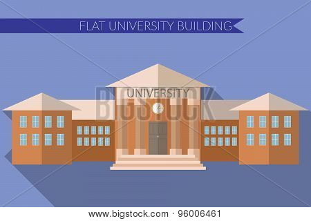 Flat Design Modern Vector Illustration Of University Building Icon, With Long Shadow On Color Backgr