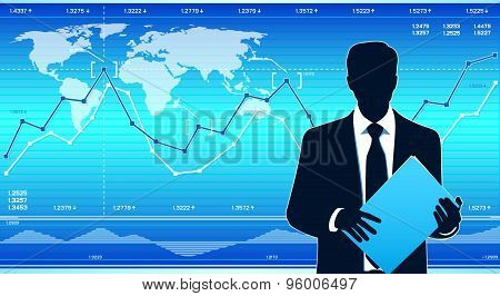 Modern Business Man With Financial Charts