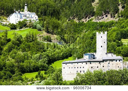 Monte Maria Abbey and castle near Burgusio, Trentino-Alto Adige, Italy