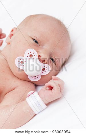 portrait of newborn baby girl