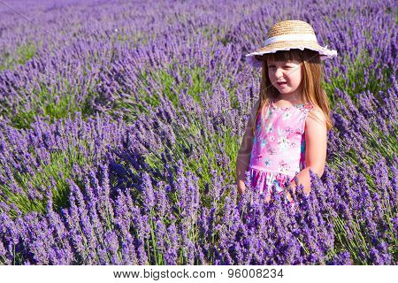 Beautiful Girl In Lavender Fields