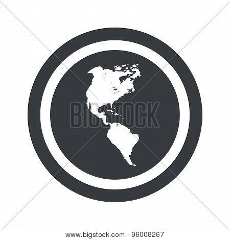 Round black America sign