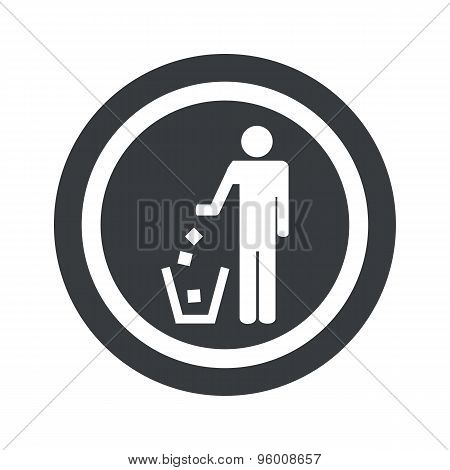 Round black recycling sign