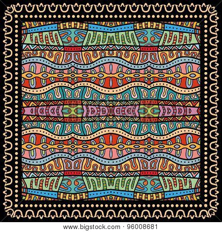 Bandana Print, silk neck scarf or kerchief square pattern design style for print on fabric, vector i