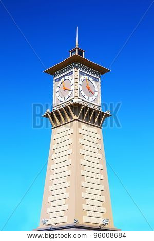 Clock tower in port Dudinka, Taimyr, Russia