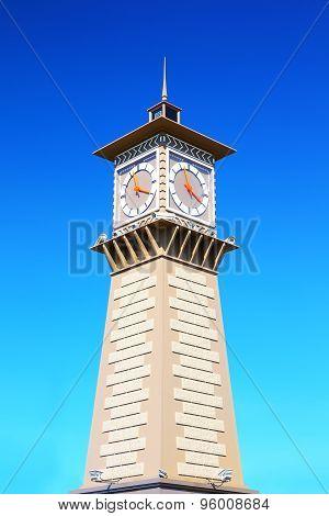 Clock tower in port Dudinka, Taimyr, Russia