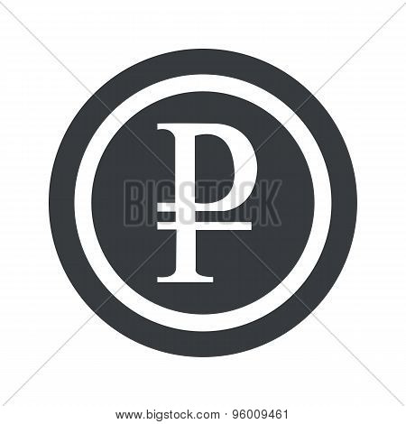 Round black ruble sign