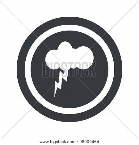 Round black thunderstorm sign