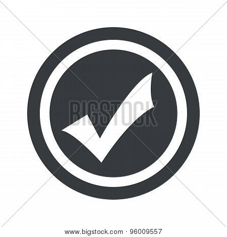 Round black tick mark sign