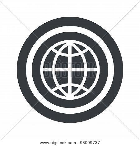 Round black globe sign