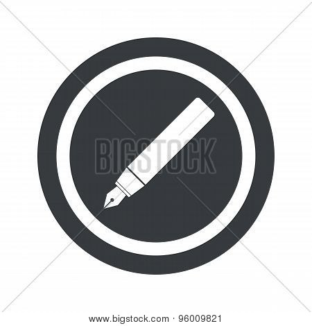 Round black ink pen sign
