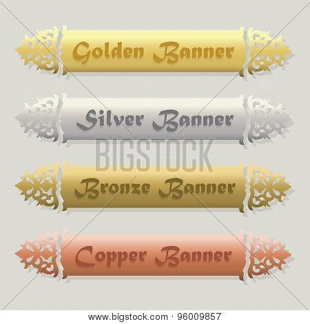 Golden Silver Bronze and Copper floral beveled banners set