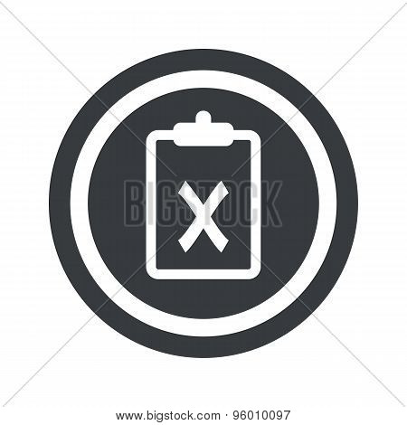 Round black clipboard NO sign