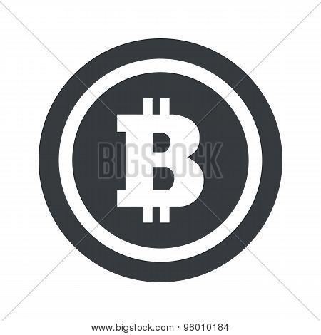 Round black bitcoin sign