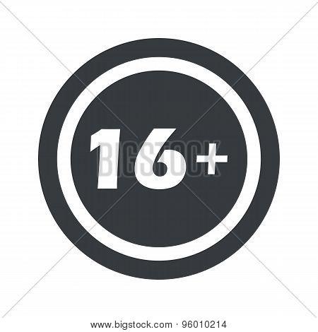 Round black 16 plus sign