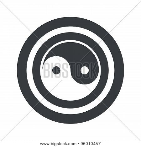 Round black ying yang sign