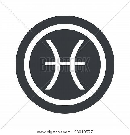 Round black Pisces sign