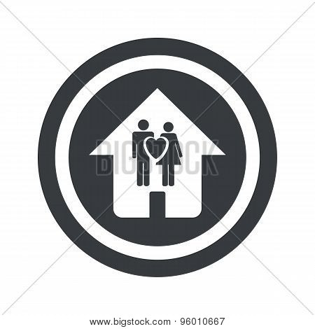 Round black family house sign