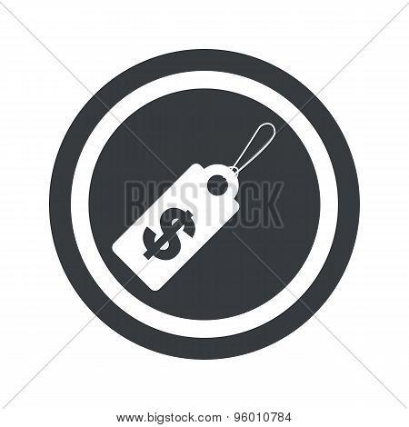 Round black dollar price sign