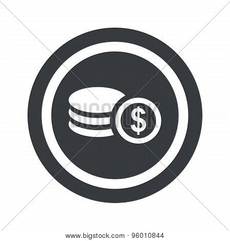 Round black dollar rouleau sign