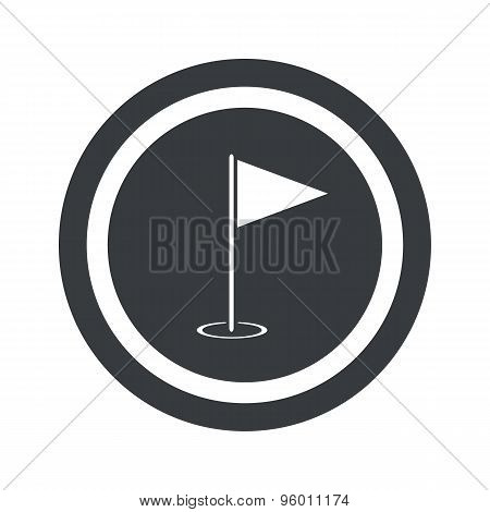 Round black flagstick sign