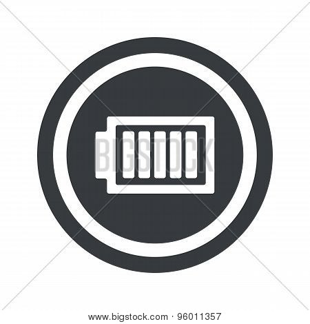 Round black charged battery sign