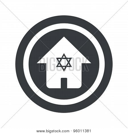 Round black jewish house sign