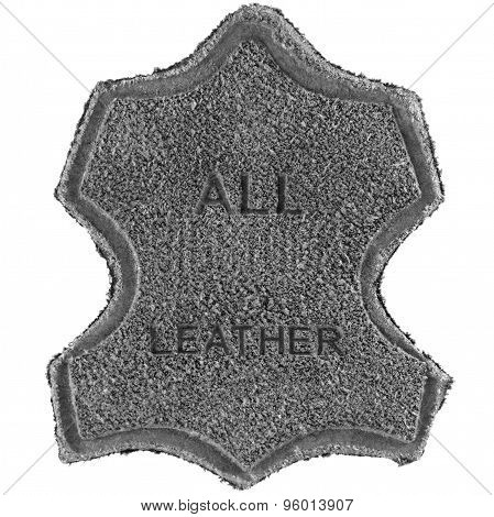 Genuine All Leather Upper Label Printed Text Icon Tag, Grey Grained Suede Texture, Large Detailed