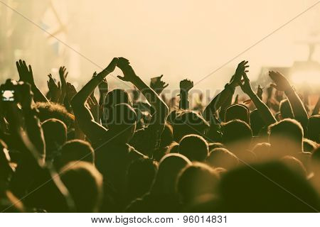 Crowd at concert - retro style photo