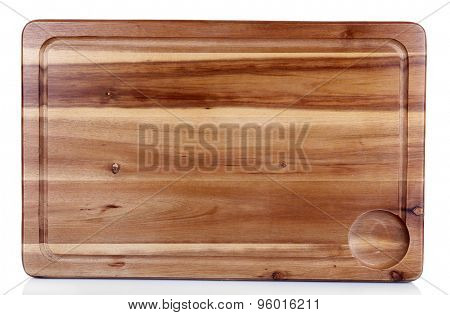 Wooden cutting board isolated on white