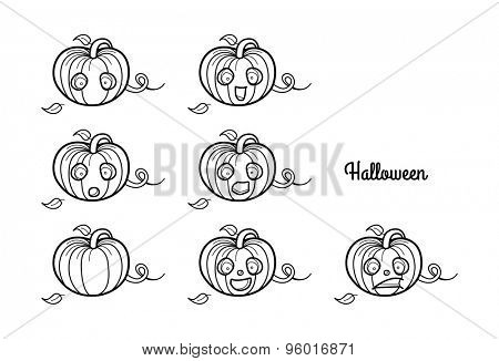Halloween. Emotions characters pumpkin.