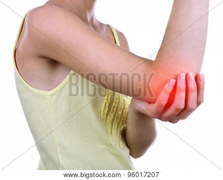 Young woman with elbow pain isolated on white