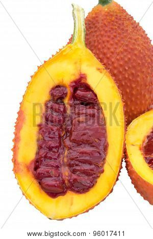 Gac fruit, Spiny Bitter Gourd, Sweet Grourd or Cochinchin Gourd isolated on white ba