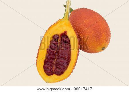 Gac fruit,Jackfruit, Spiny Bitter Gourd, Sweet Grourd or Cochinchin Gourd isolated on white ba