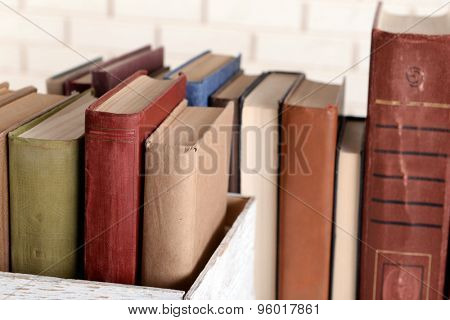 Heap of old books close up