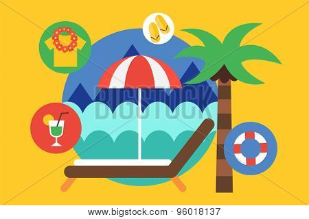 Travel by the plane vector illustrat. Summer, Air and holiday symbols. Stock design elements