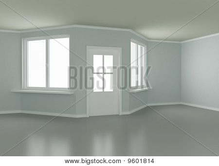 Room, Door and Windows, 3D Illustration