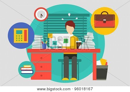 Stress in the office illustration. Hard work and business man. Stock design elements