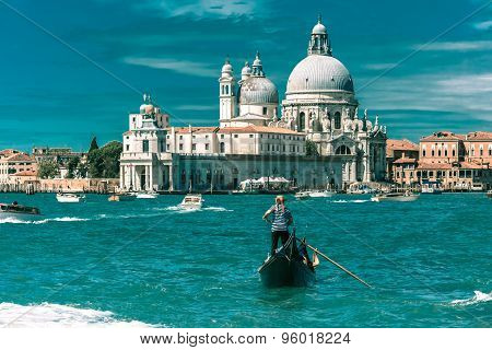 Gondolas on Canal Grande in Venice, Italy