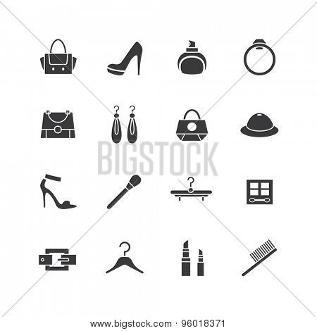 Web store vector icons set. Shopping symbols. Interface elements Stock illustration.