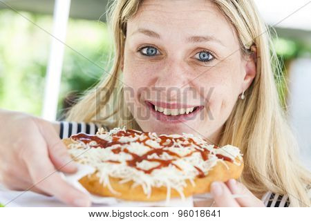 portrait of woman eating
