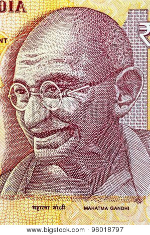 Closeup of Mahatma Gandhi on 10 Rupees Indian currency note