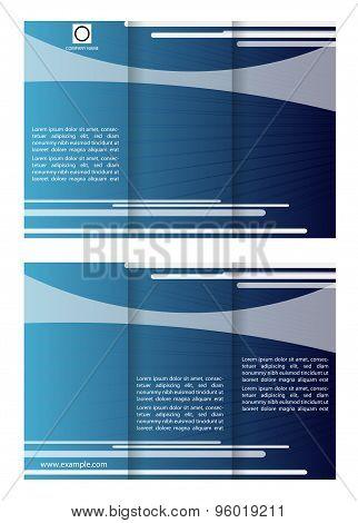Blue tri fold business brochure template