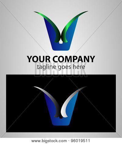 Letter V logo symbol design template elements
